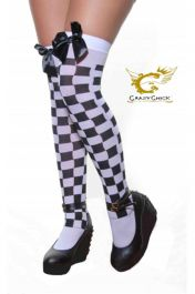 White & Black Checkered Stockings With Black Bow