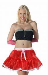 Women Red Satin TUTU Skirt With White Ribbon