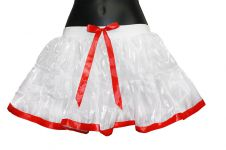 Women White TUTU Skirt With Red Ribbon