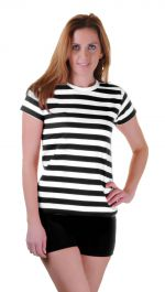 Women Black & White Stripe T-Shirt