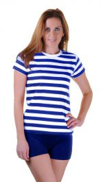 Women Blue & White Stripe T-Shirt