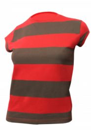 Women Red & Green Stripe T-Shirt