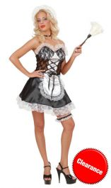 Adorable Satin French Maid Black White