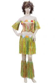 Adult 5 Pcs Multi Coloured Hula Set With Flowers