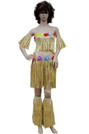 Adult 5 Pcs Gold Hula Set With Flowers