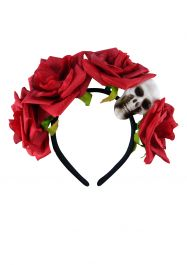 Adult Black Headband With Skull & Flower