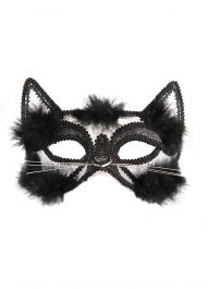 Adult Cat Eye Mask W/Black Fur & Trim