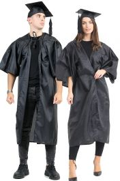 Bachelor BA Graduation Gown Mortar Board Mortarboard Cap University Pleated Robe