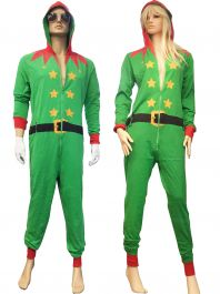 Adult Green ELF Onesie Costume
