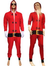Adult Red Santa Onesie Costume