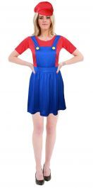 Ladies Super Plumber Bro Red/Blue Costume
