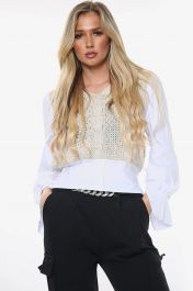 All In One Knitted Cropped Shirt Top (Beige)