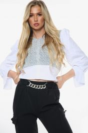 All In One Knitted Cropped Shirt Top (Grey)