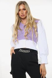 All In One Knitted Cropped Shirt Top (Lilac)