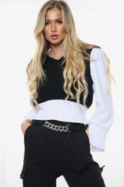 All In One Knitted Cropped Shirt Top (Black)
