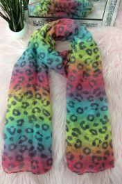All Over Multi Leopard Print Scarves