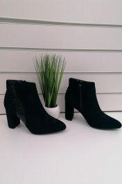 Ankle Heel Croco Pattern Side Stripe Boots Black