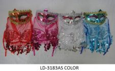 Assorted Masquerade Masks with Veil and Sequins