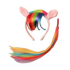 Assorted Pony ears aliceband with rainbow fur trim and imitation hair fringe Matching tail