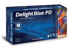 Aurelia Vinyl Powdered Disposable Blue Gloves - Medium - Pack 100