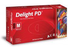 Aurelia Vinyl Powdered Disposable Clear Gloves - Medium - Pack 100
