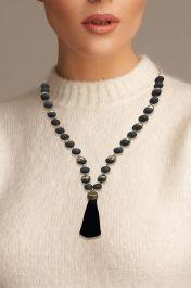 Beaded Cap Tassel Necklace Black