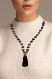 Beaded Cap Tassel Necklace Multi