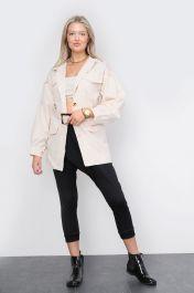 Belted Front Pocket Jacket Beige