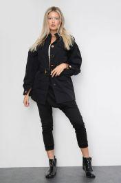 Belted Front Pocket Jacket Black