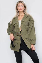 Belted Front Pocket Jacket Khaki
