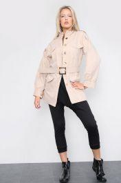 Belted Front Pocket Jacket Tan