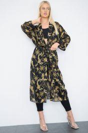 Belted Long Sheer Kimono Cardigan Black