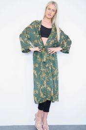 Belted Long Sheer Kimono Cardigan Khaki