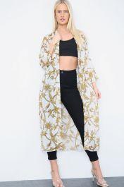 Belted Long Sheer Kimono White