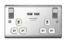 BG 13a 2 Gang Switch Socket & USB - Polished Chrome With White Inserts