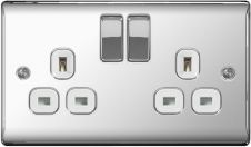 BG 13a 2 Gang Switch Socket - Polished Chrome With White Inserts