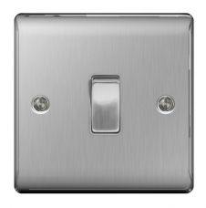 BG Brushed Steel 10ax Plate Switch Intermediate