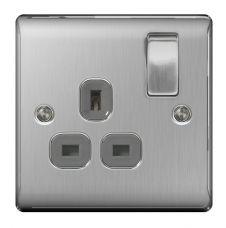 BG Brushed Steel Switched Socket 13a - 1 Gang