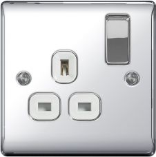 BG Chrome 13a Switched Socket - 1 Gang