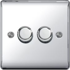 BG Chrome 2 Way Dimmer Switch 400w - 2 Gang