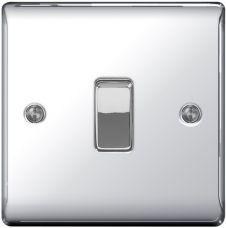 BG Metal Chrome 10ax Plate Switch 2 Way - 1 Gang