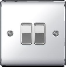 BG Metal Chrome 10ax Plate Switch 2 Way - 2 Gang