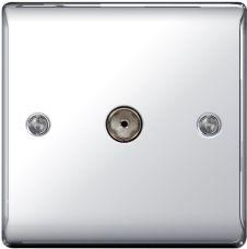 BG Metal Chrome Co-Axial Socket - 1 Gang