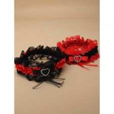 Black and Red Lace Garter with Red and Black Satin Ribbon