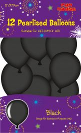 Black Birthday Party Balloons (Pack of 12)