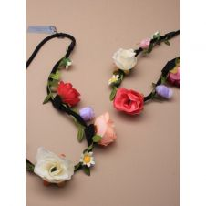 Black Elastic Bandeaux With Fabric Rosebuds