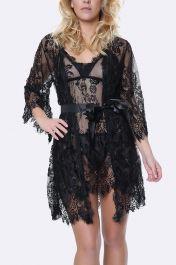 Eyelash Lace Slip & Gown 3 Piece Set Lingerie
