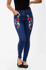 BLACK FLORAL Ladies High waisted jeans