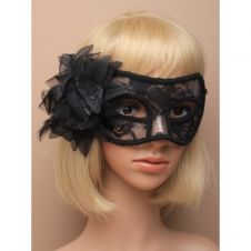 Black Lace Flower Masquerade Mask