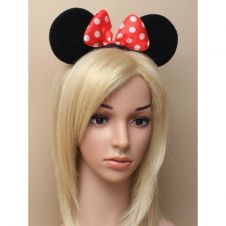 Black Mouse Ears With Red Satin Bow on Aliceband